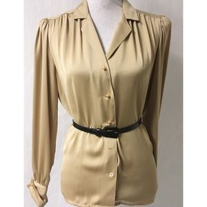 Tan Pleated Vintage Top Size 12
